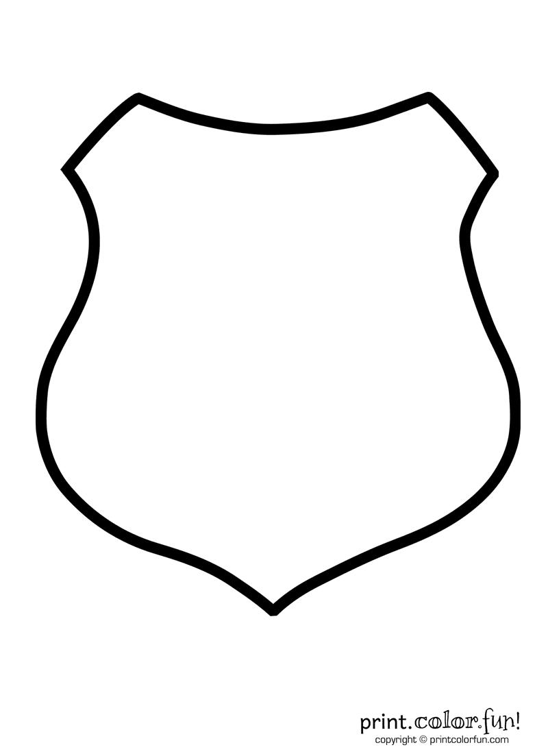 Police shield coloring page - Print. Color. Fun!