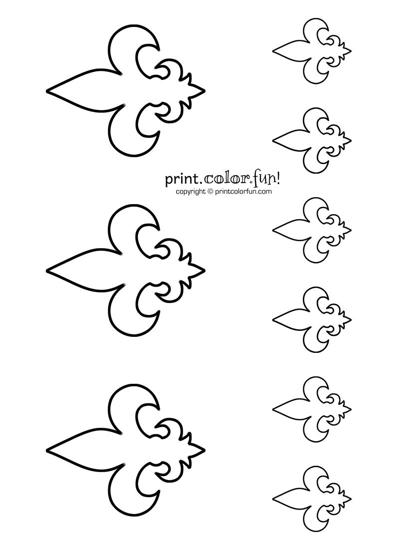 Stencils: Fleur-de-lis 2 coloring page - Print. Color. Fun!