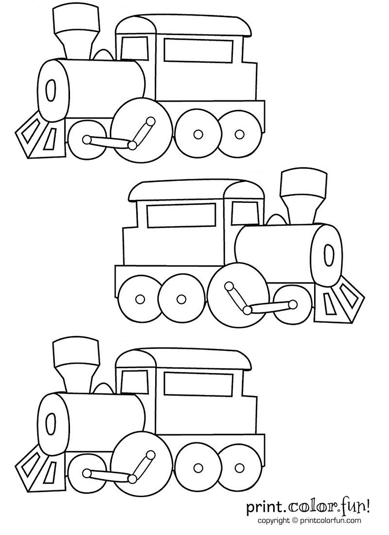 Three trains coloring page - Print. Color. Fun!