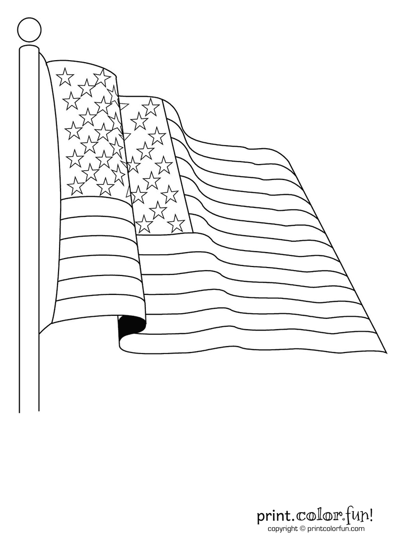 Printable coloring pages for memorial day - American Flag