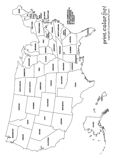 US map coloring page - Print. Color. Fun!
