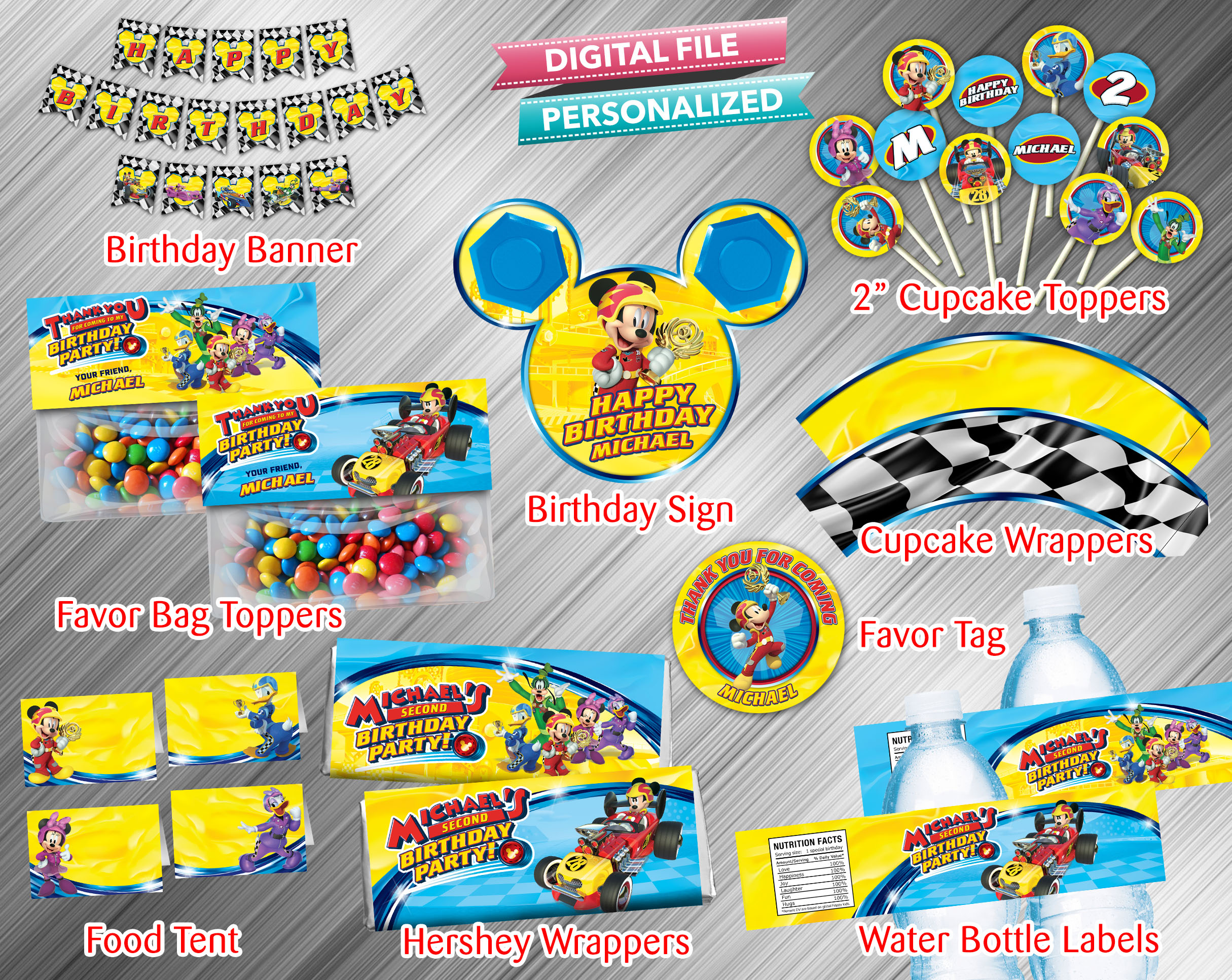 Mickey And The Roadster Racers Printable Birthday Package