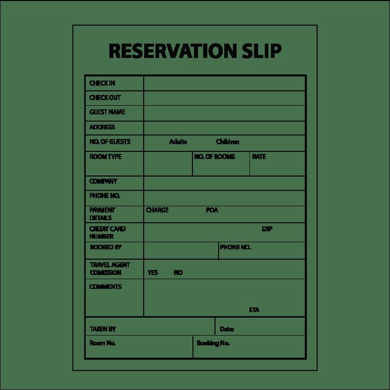 Reservation slip pads