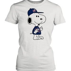 Snoopy Columbus Blue Jackets NHL Double Middle Fingers Fck You  Classic Women's T-shirt