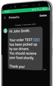 SMS Customer Alerts - Delivery Orders - Order Management with PrinterCo
