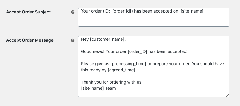 POS Printer for WooCommerce plugin 2.6.5 - email subject and body for accepted orders