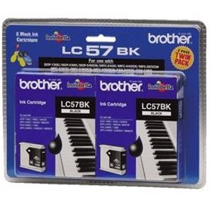 brother lc57 black twin pack ink cartridge