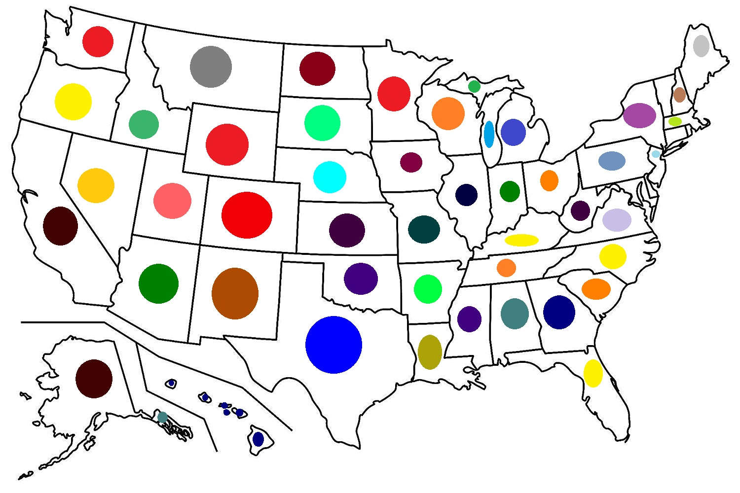 map of the United States mnemonic color dots