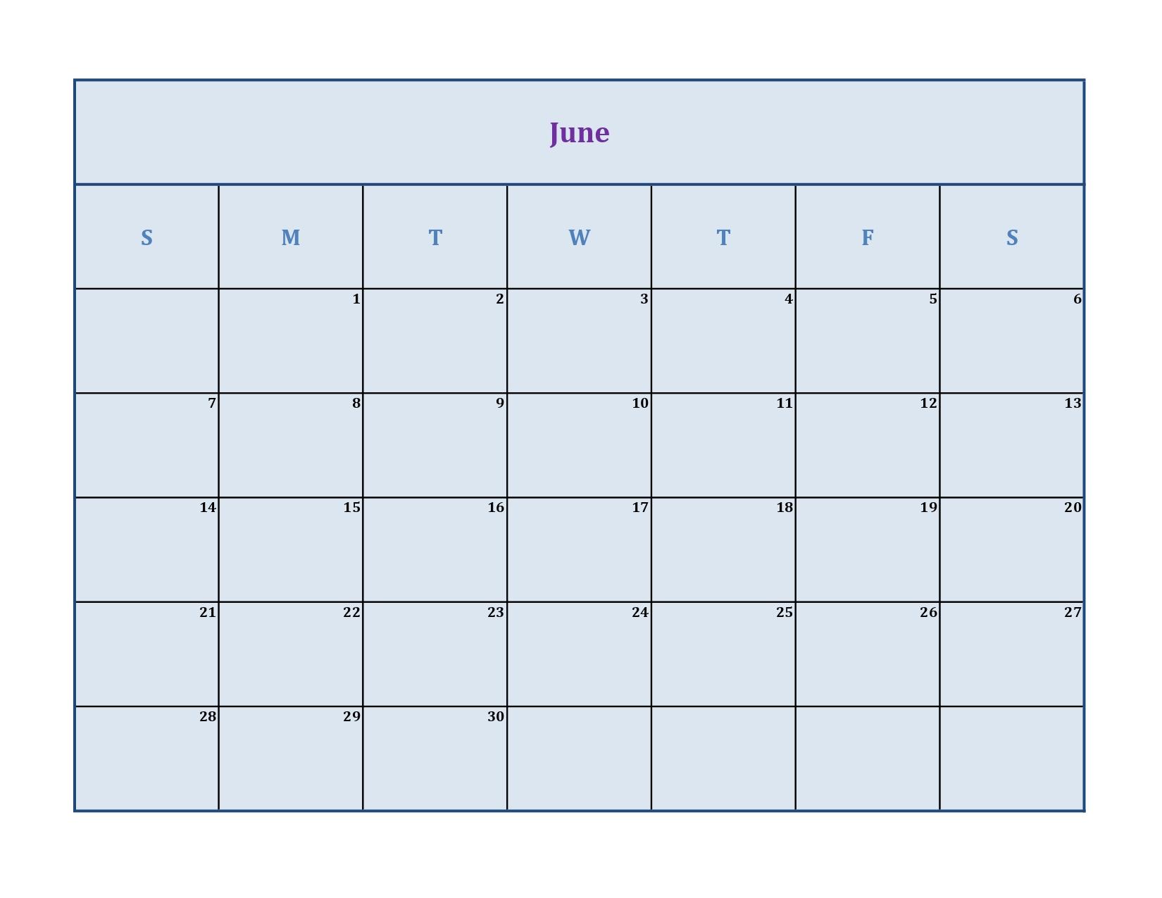 June 2020 calendar without holidays