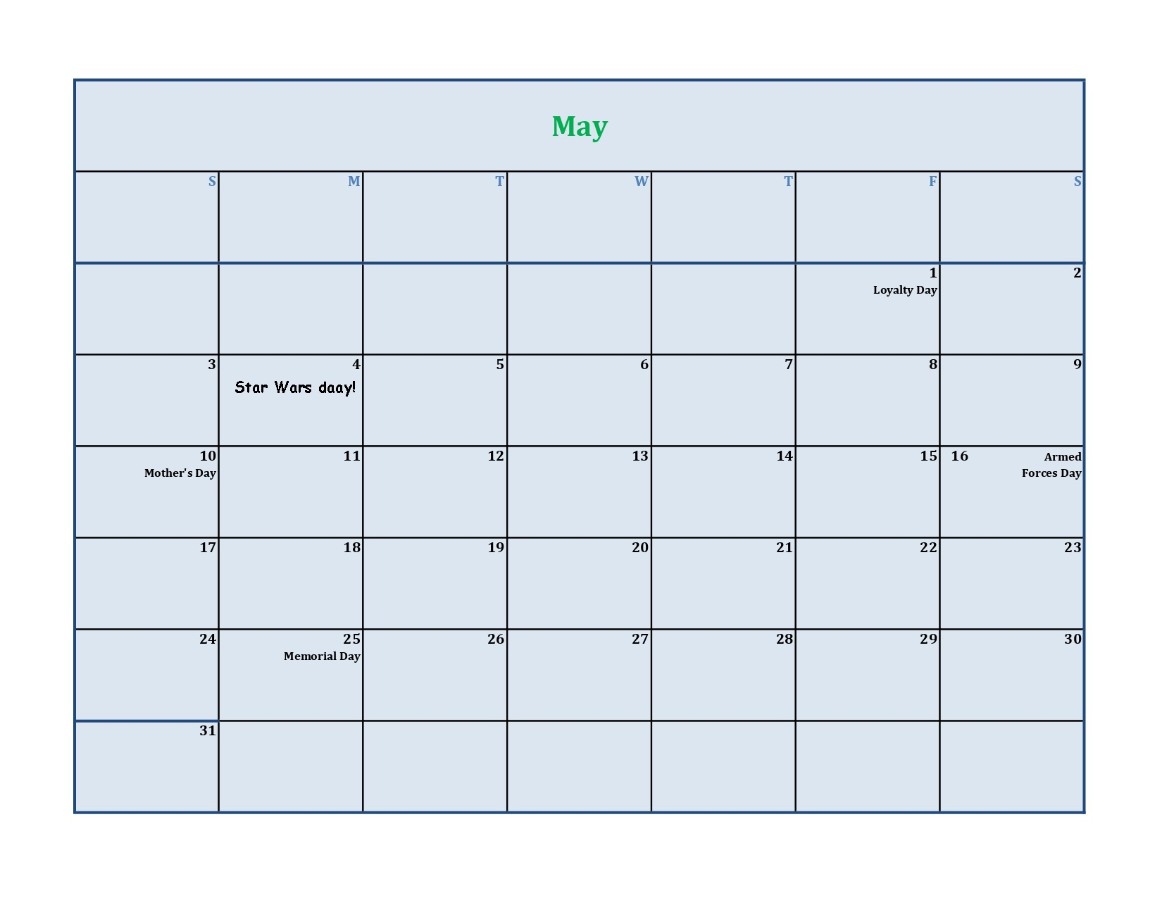 May 2020 calendar excel