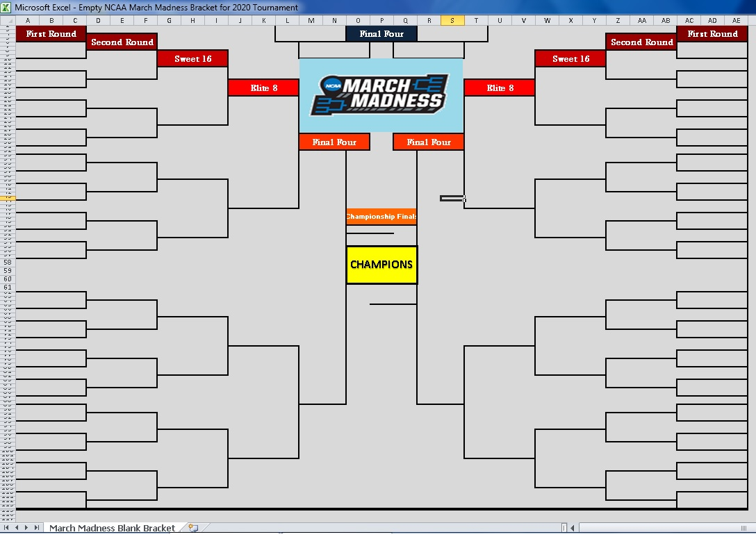 blank march madness 2020 bracket excel