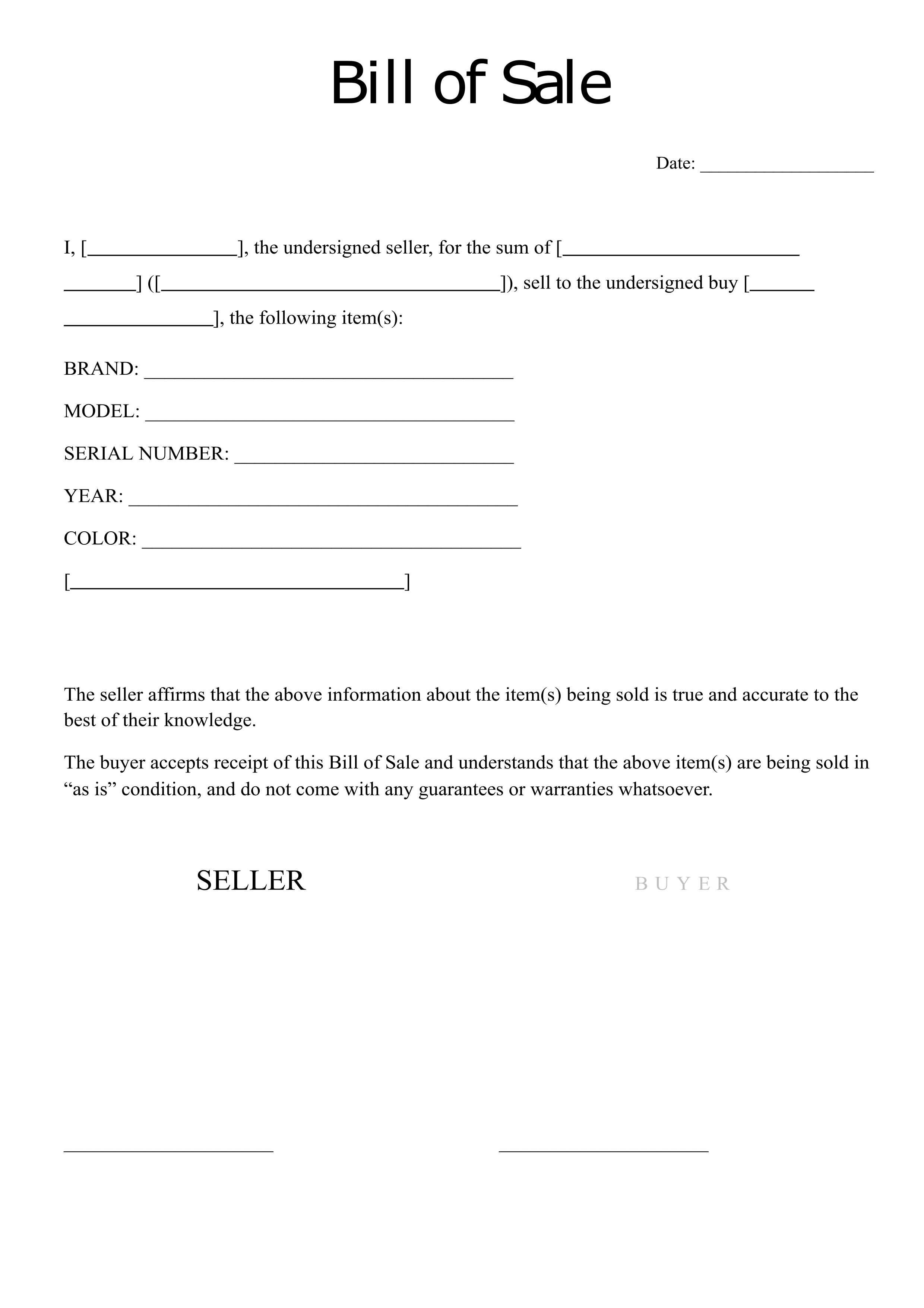 Free Printable Bill Of Sale Template And Blank Sales Forms Printerfriendly