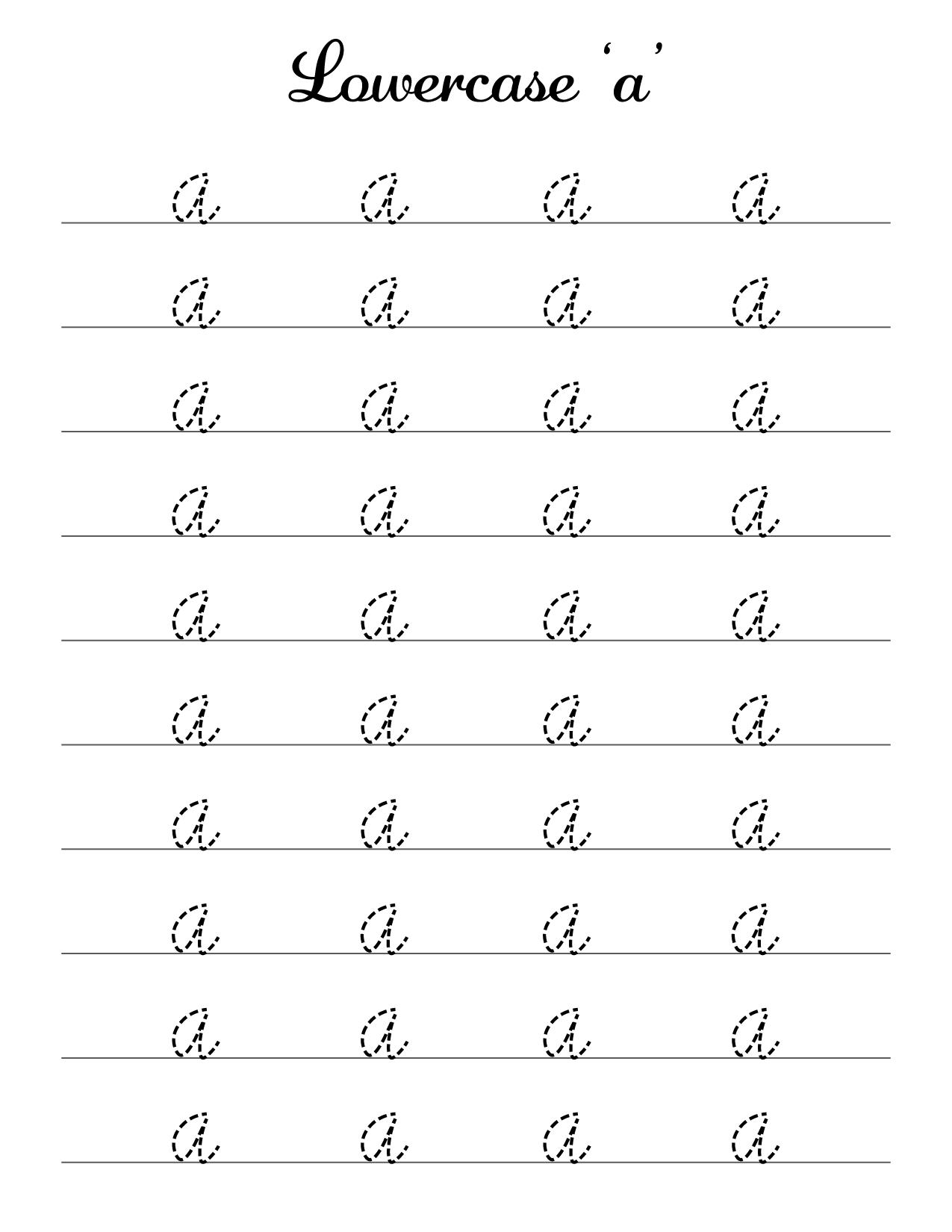 lowercase a cursive practice