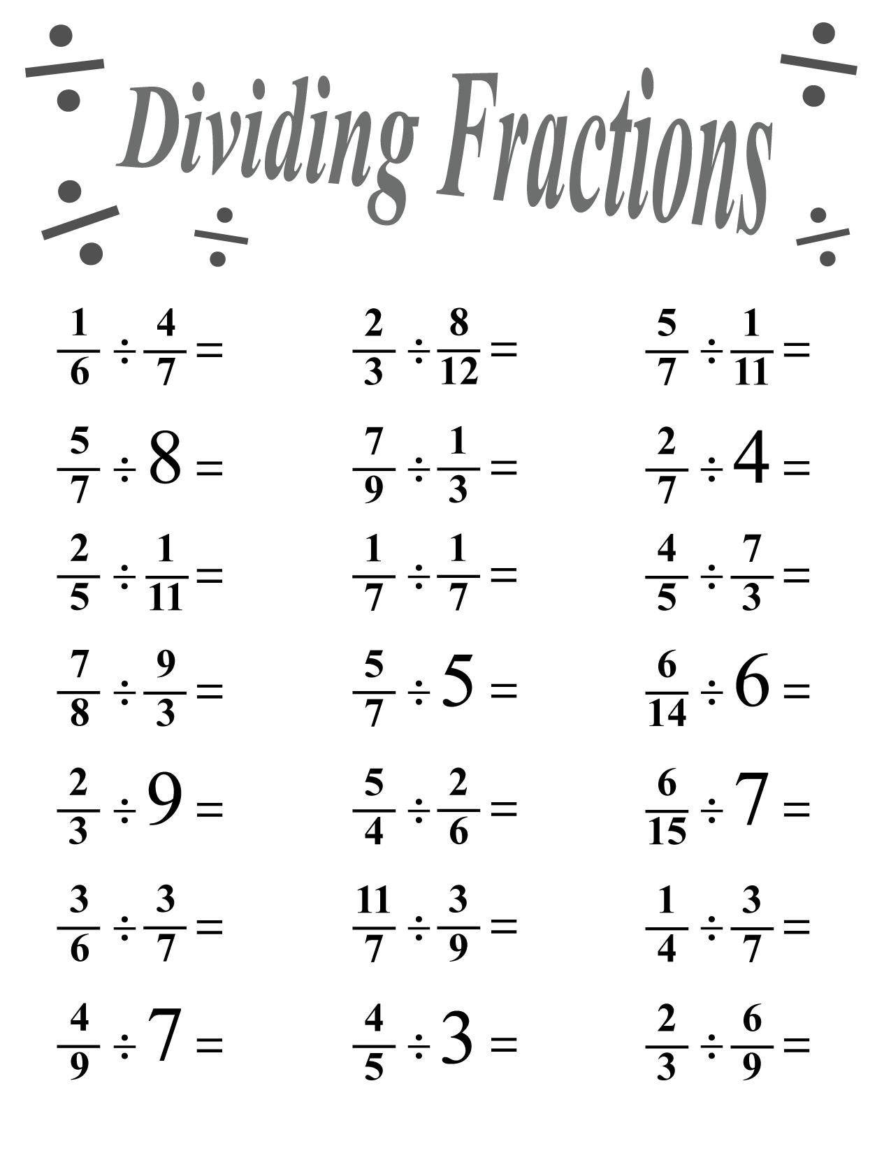 Dividing fractions worksheet