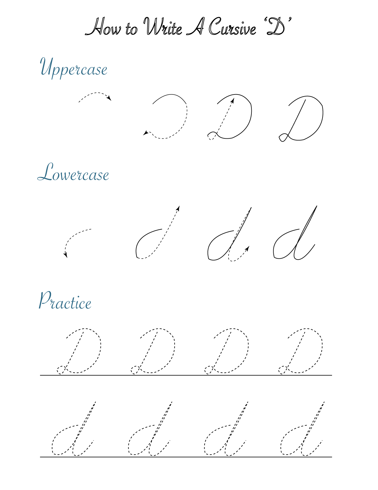 How to write a cursive 'D'