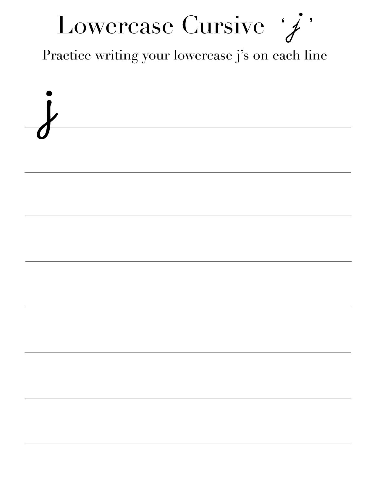 Lowercase Cursive j