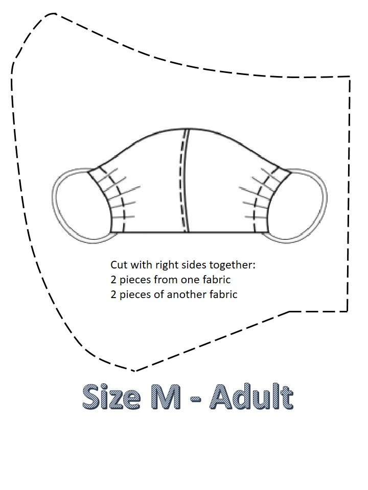 homemade printable face mask pattern adult size M