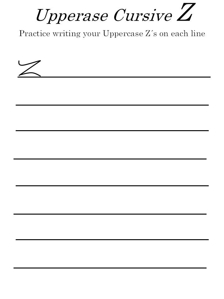 worksheets letter 'Z' in uppercase
