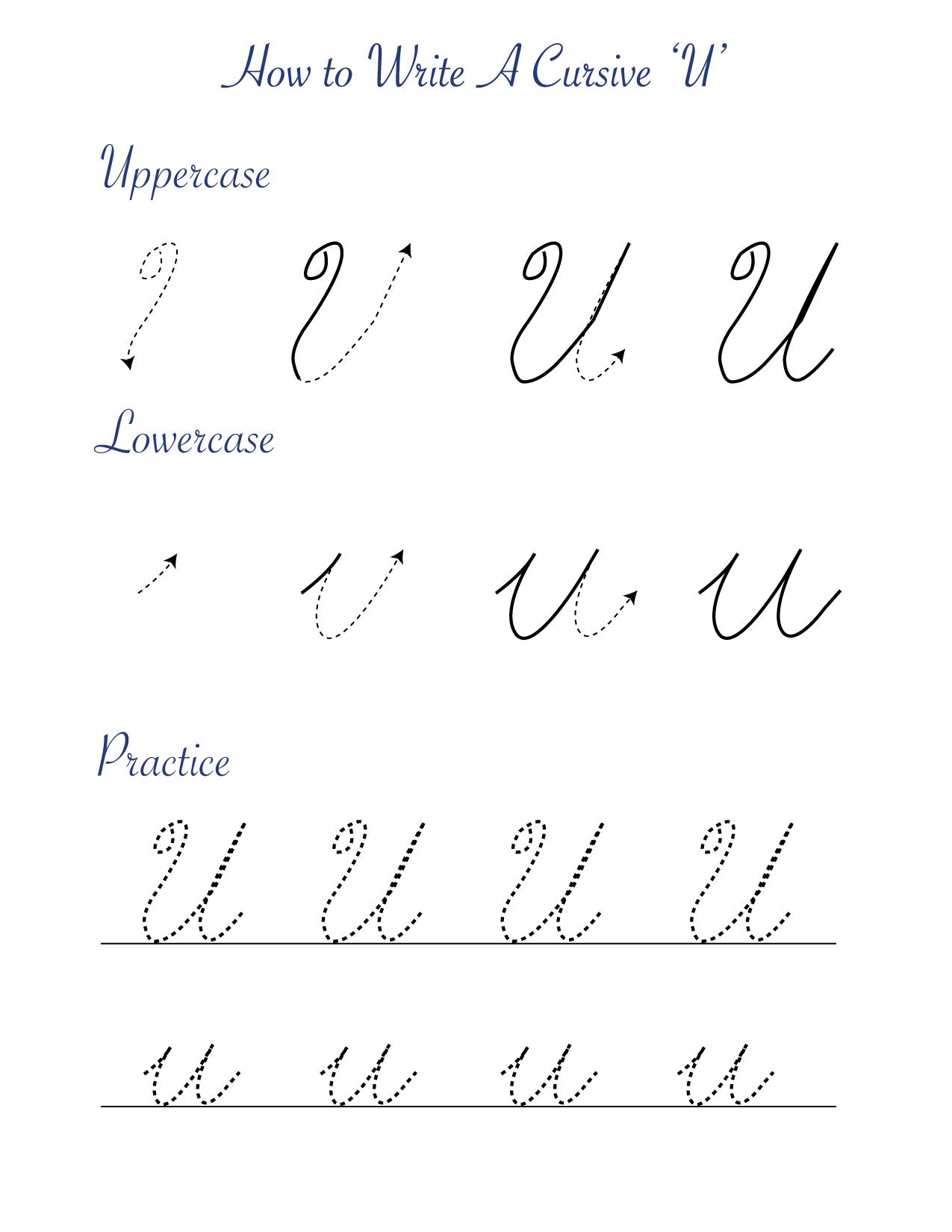 How to write a cursive U