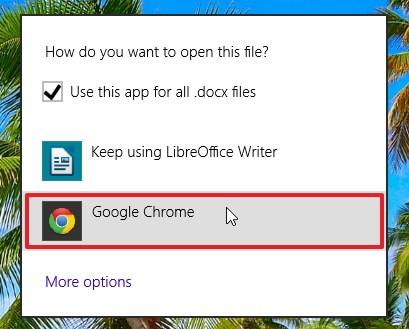 Выбираем Google Chrome