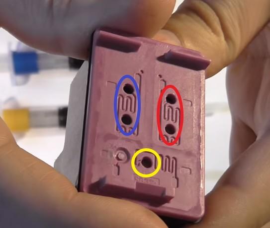 Отверстия для заправки цветного HP 650