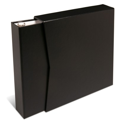 "Black 1.5"" binder coming out of slipcase"