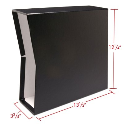 """Black 2.5"""" oversized slipcase with dimensions"""