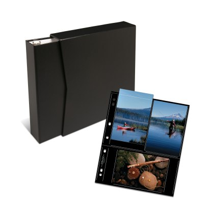 "Black 1.5"" OB binder, slipcase, and black 46-6S pages"