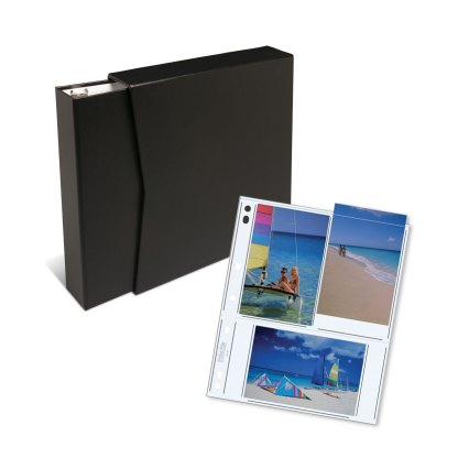 """Black 1.5"""" OB binder, slipcase, and clear 46-6P pages"""
