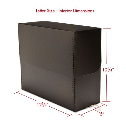 Letter size metal-edge document box-closed with dimensions