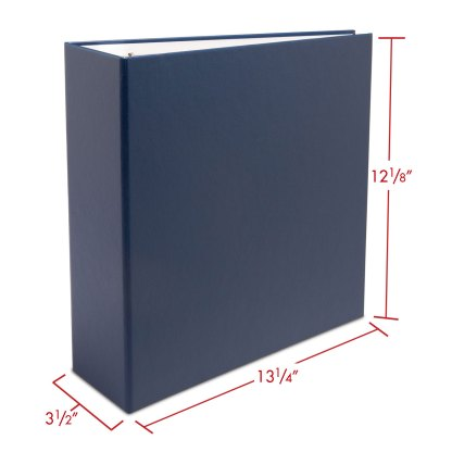 """Blue 2.5"""" oversized album with dimensions"""