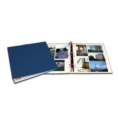 Blue oversized album shown opened