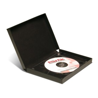 Black single CD/DVD Clamshell Folio shown with CD inside
