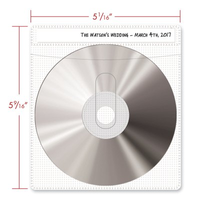 White CD sleeve, showing dimensions