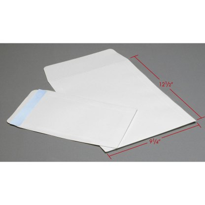 9x12 White Flap envelopes with dimensions