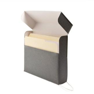 Gray Slim document box- opened