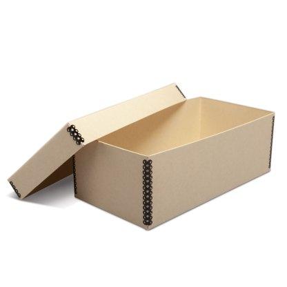 Tan metal-edge 4x6 photo box, opened