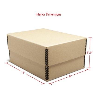Tan metal-edge 5x7 photo box with dimensions