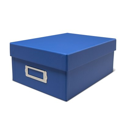 Blue photo storage box- closed