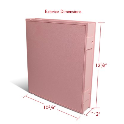 Pink Safe-T-Binder with exterior dimensions