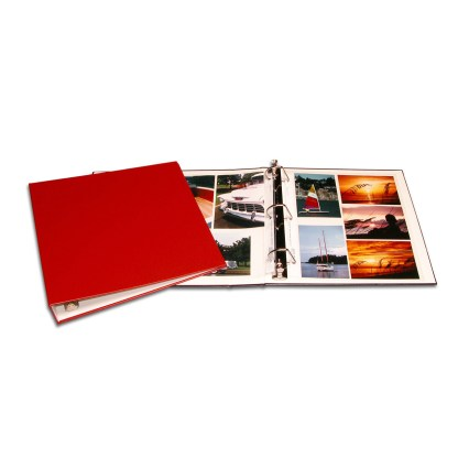 Red oversized binder shown opened