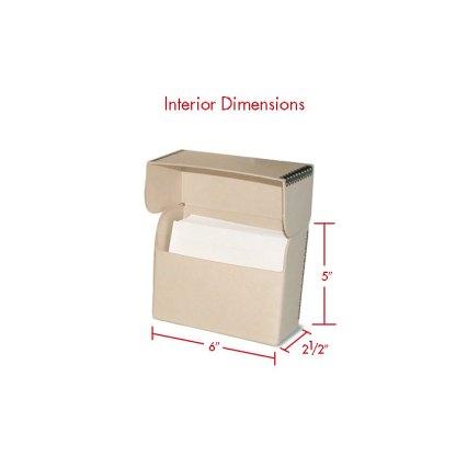 Tan 4x5 Flip Top box with dimensions