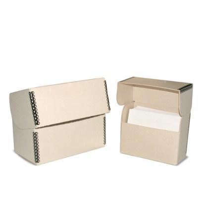 Tan flip-top box