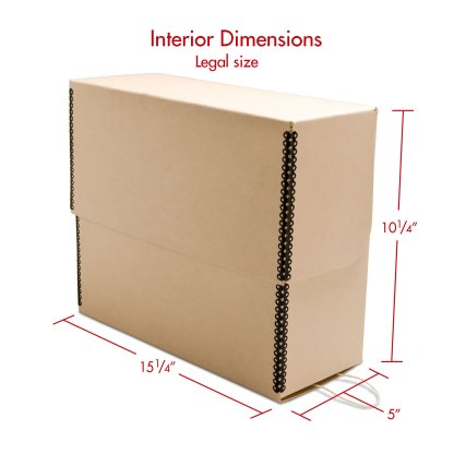 Tan legal size metal edge document box- closed with dimensions