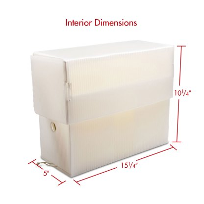 Legal size White Poly corrugated document case with dimensions