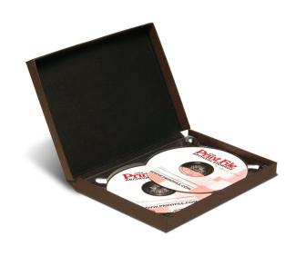 Double CD/DVD clamshell folio - brown