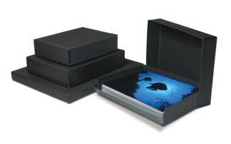 Black Drop-Front Metal Edge Boxes