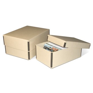 Tan Metal Edge Photo Storage Boxes