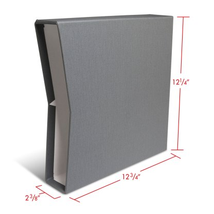 """1.5"""" Gray oversized slipcase with dimensions"""