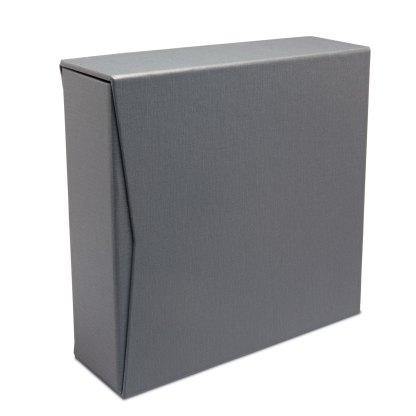 "Gray oversized 2.5"" slipcase with gray album inside"
